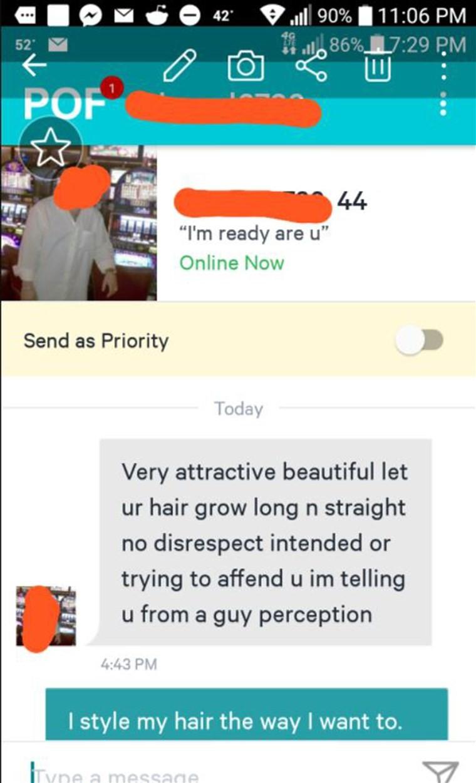 """Mulher recebe """"conselho"""" sobre cabelo cacheado em app de namoro e resposta viraliza (Foto: Reprodução / Reddit)"""