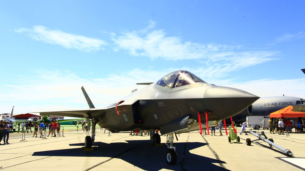 Caça F-35 exposto em Dayton. nos EUA (Foto: Wilson Aiello / EPTV)