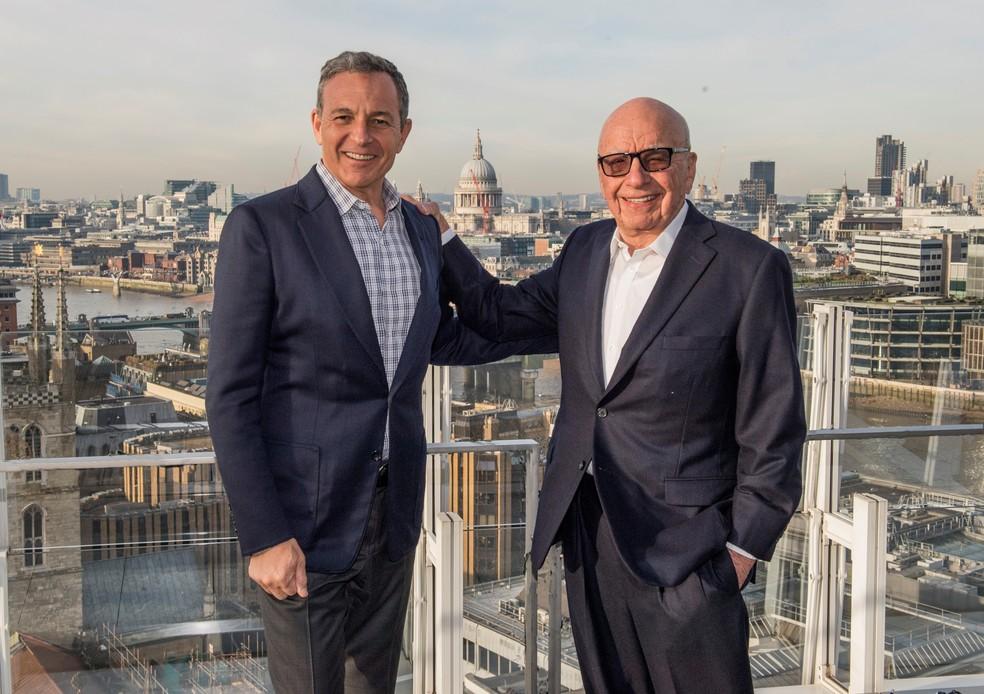Robert A. Iger, CEO da Disney (à esquerda), e Rupert Murdoch, dono do 21st Century Fox, Rupert Murdoch. (Foto: Walt Disney Company)