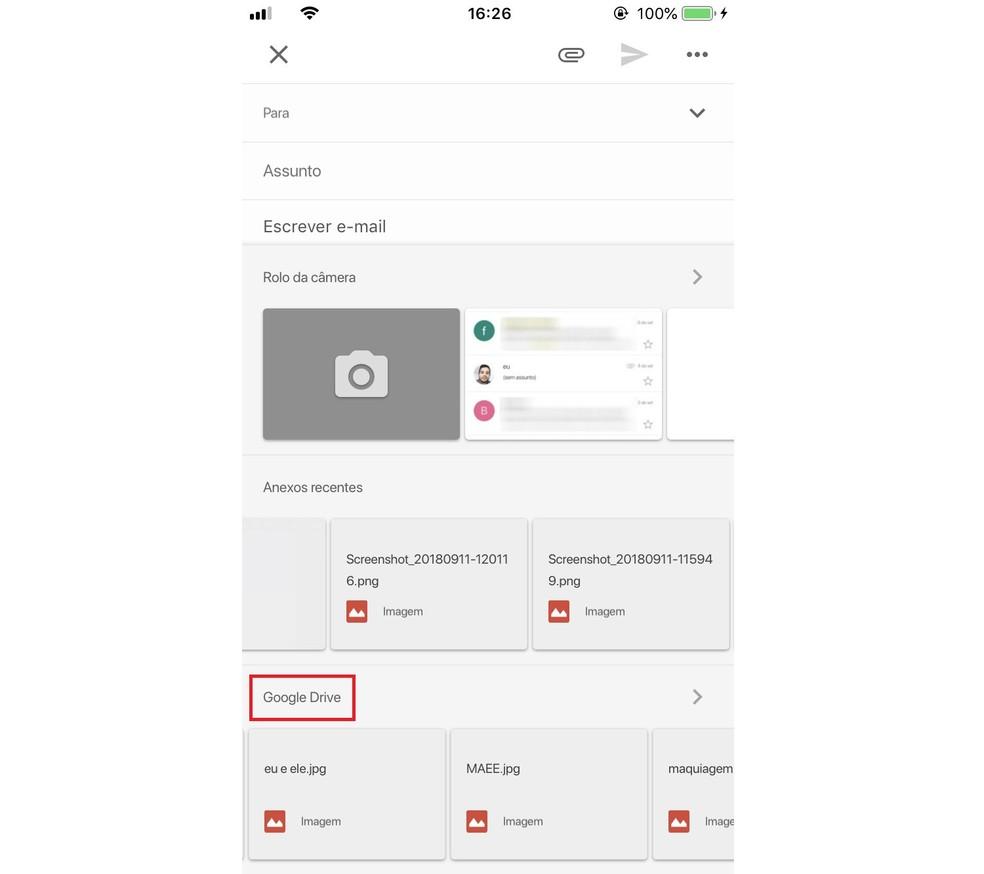 É possível anexar arquivos do Google Drive em e-mails do Gmail pelo celular — Foto: Reprodução/Rodrigo Fernandes