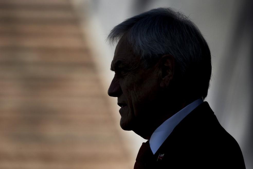 Presidente do Chile, Sebastián Piñera, discursa no dia 6 de novembro de 2019 — Foto: Javier Torres/AFP