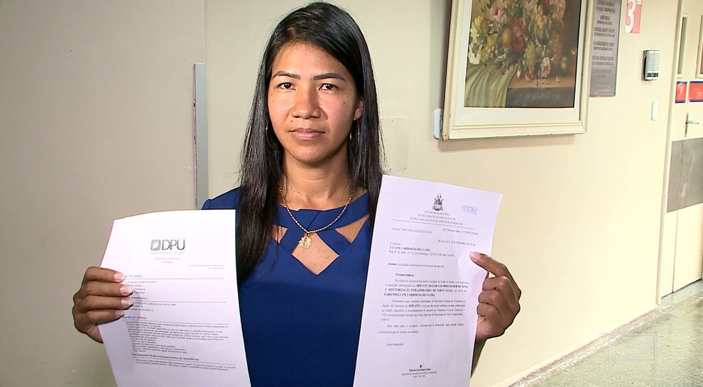 Tayane Cardoso, mãe do menino, recorreu à Justiça para conseguir custear a cirurgia pelo SUS. — Foto: Reprodução/TV Mirante