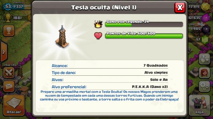 Clash of Clans: Teslas Ocultas tem vantagem sobre P.E.K.K.A (Foto: Reprodução/Paulo Vasconcellos)