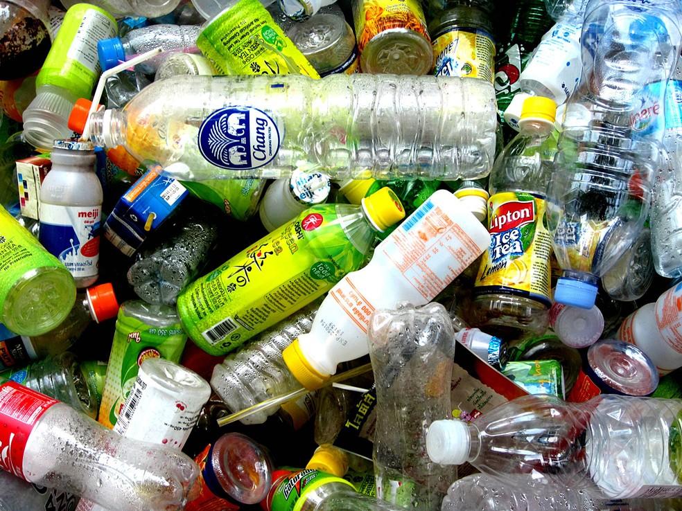 Garrafas de plástico PET, um dos poluentes sólidos mais persistentes do planeta — Foto: Twentyfour Students/CC