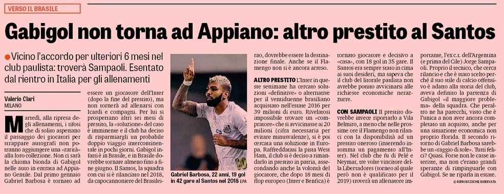Jornal italiano diz que Gabigol pode ser reemprestado ao Santos por mais seis meses — Foto: Reprodução