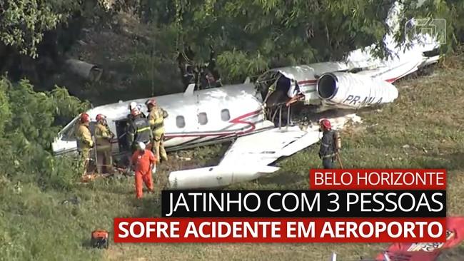 VÍDEO: Avião não consegue parar a tempo e sai da pista no aeroporto da Pampulha, em MG