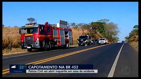 Capotamento na BR-452 de veículo com drogas será investigado; duas pessoas morreram