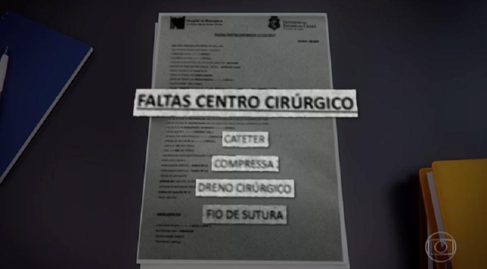 Um documento de controle interno do hospital mostra a falta de quatro medicamentos, além de materiais, como cateter, compressas, dreno e fios de sutura. (Foto: Reprodução/TV Verdes Mares)