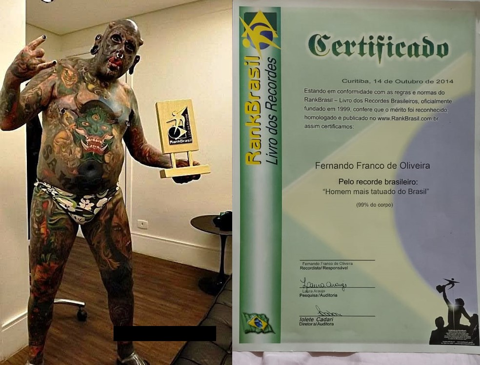 Fernando, de Tatuí (SP), ganhou título de homem mais tatuado do Brasil — Foto: Fernando Franco/Arquivo pessoal