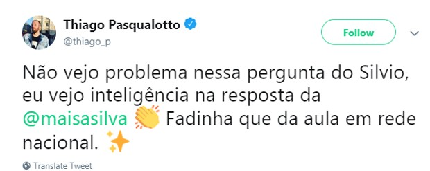 Internauta elogia Maisa no Twitter (Foto: Reprodução Twitter)