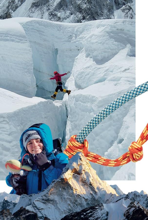 A plenitude no olhar de quem acaba de bater o recorde de latino-americana mais jovem a chegar no Everest, o topo do mundo (Foto: Arquivo Pessoal e Jordi Saragossa)
