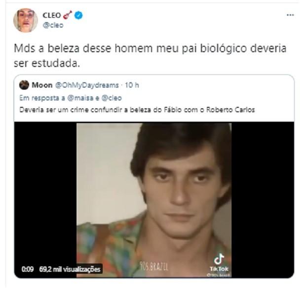 Cleo comenta beleza de Fábio Jr. (Foto: Reprodução/Twitter)