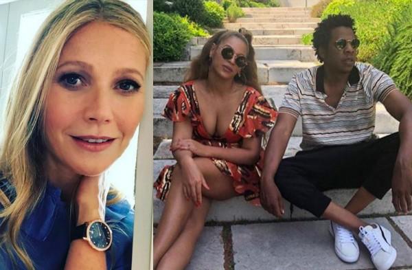 A atriz Gwyneth Paltrow, a cantora Beyoncé e o rapper Jay-Z (Foto: Instagram)