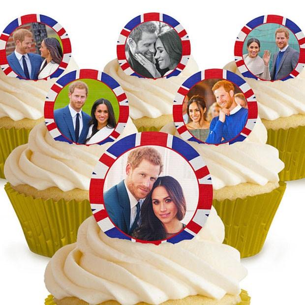 O príncipe Harry e Meghan Markle na versão enfeite de cupcake (Foto: Reprodução)
