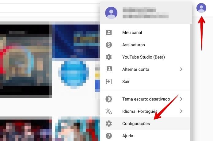Acesse as configurações do YouTube (Foto: Reprodução/Helito Beggiora)