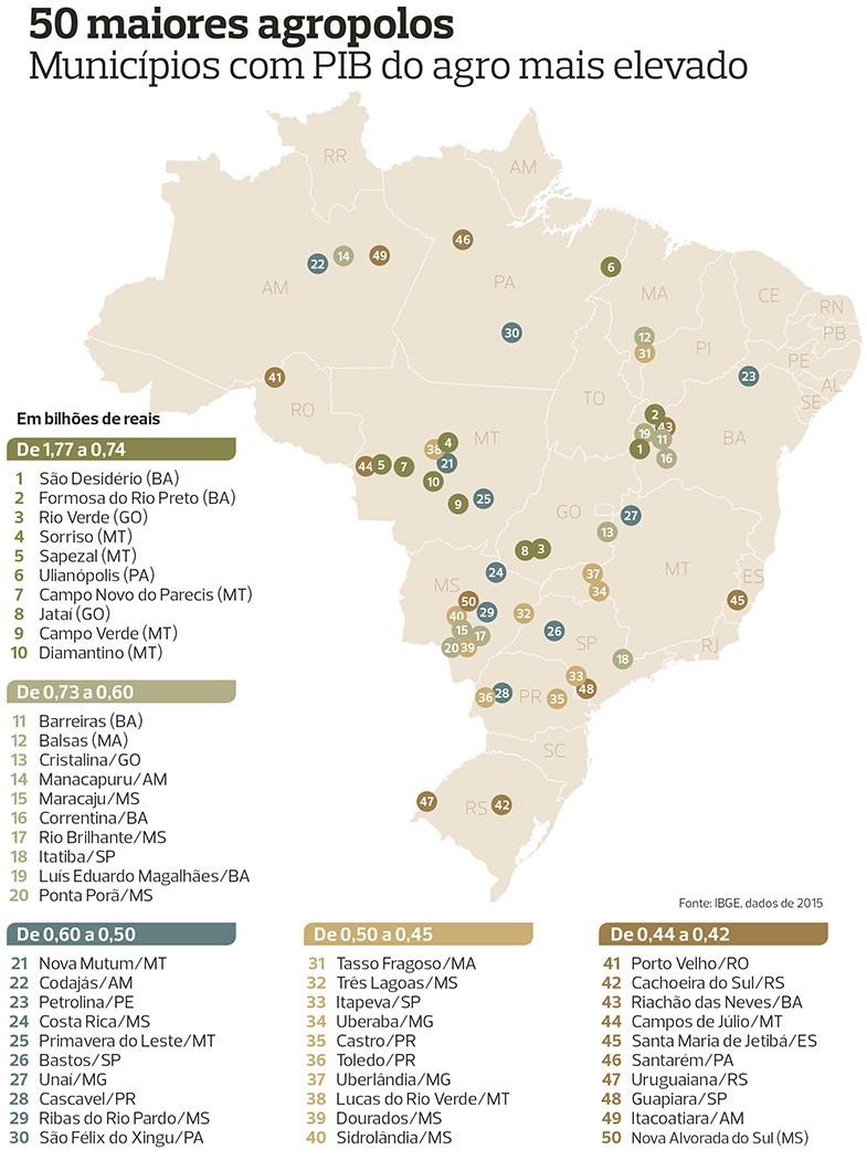 mapa Brasil das 50 cidades agro PIB (Foto: Globo Rural/Ed. Globo)