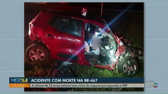 Jovem morre e outras quatro pessoas ficam gravemente feridas em acidente na BR-467