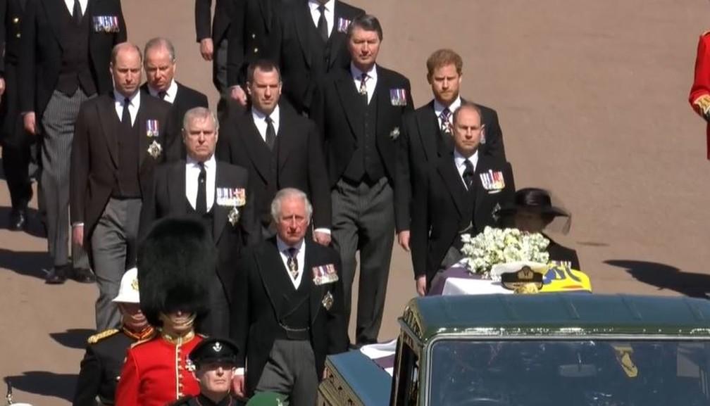 Família real no funeral do Príncipe Philip — Foto: Reprodução