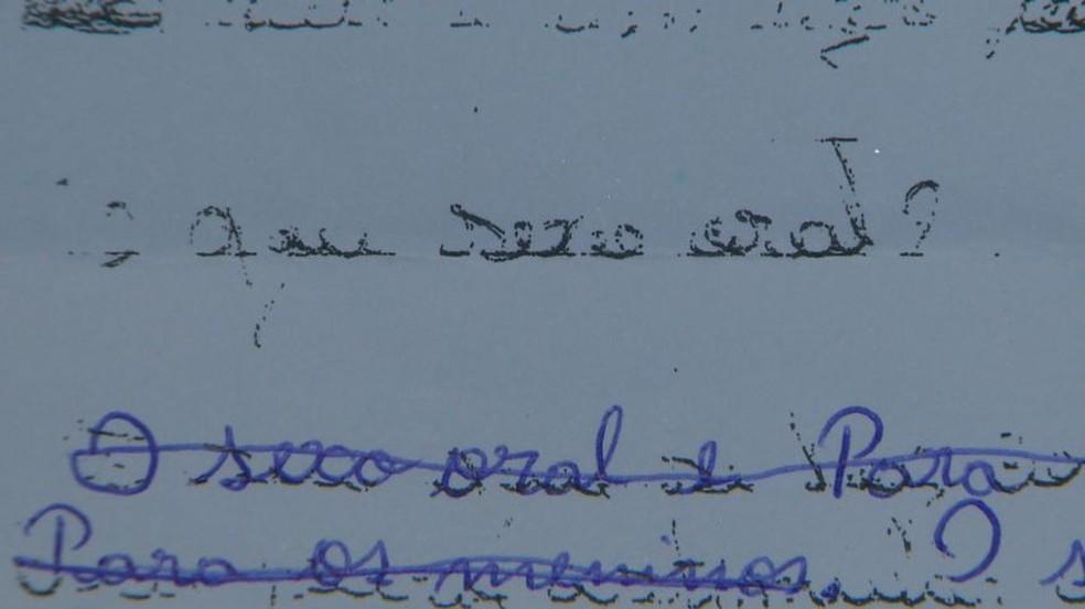 Pergunta foi passada em um dever de casa para crianças com média de 11 anos de idade, em Vila Velha — Foto: Reprodução/TV Gazeta