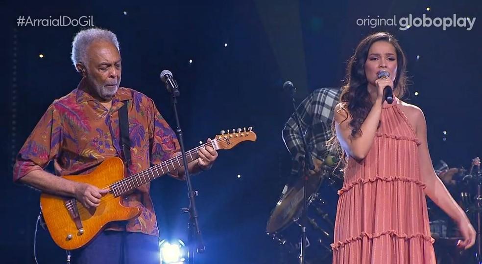 Juliette fez participação especial na live de Gilberto Gil — Foto: Reprodução