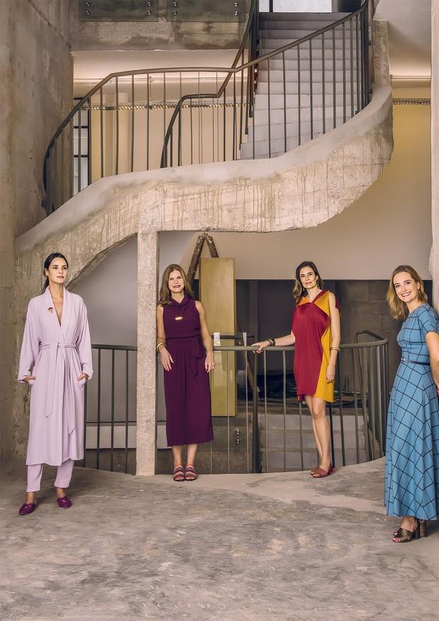 Da esquerda para a direita, Cris Barros, Ana Serra, Renata Castro e Silva e Patricia Moraes no Pivô, no centro de São Paulo (Foto: Romulo Fialdini)