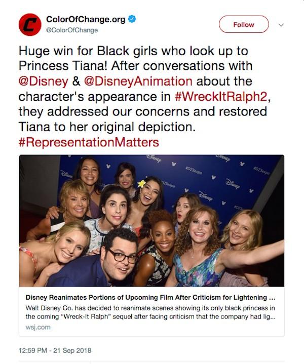 A mensagem da organização Color of Change celebrando a decisão da Disney em editar Detona Ralph 2 (Foto: Twitter)