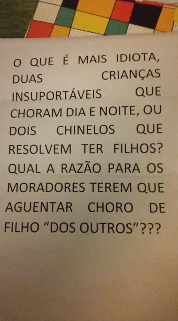 O bilhete que Luana recebeu dos vizinhos (Foto: Arquivo pessoal/ Luana Alves)