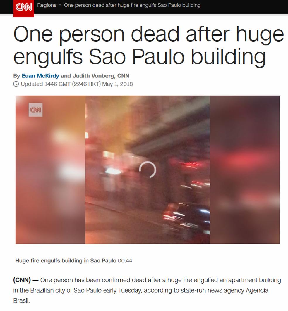 CNN noticia o incêndio em SP (Foto: Reprodução/ CNN)