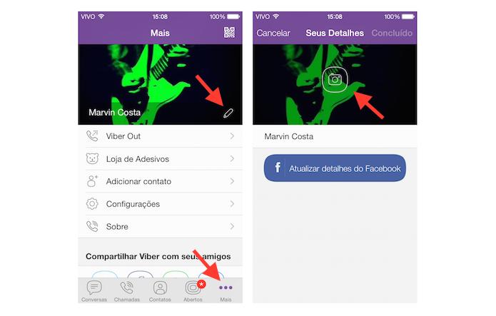 Acessando a ferramenta de alteração de foto de perfil do Viber (Foto: Reprodução/Marvin Costa)