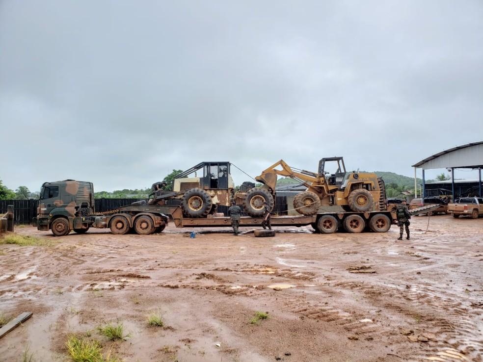 Maquinários foram apreendidos pela Polícia Federal durante operação nesta terça-feira (29). — Foto: Divulgação/Polícia Federal