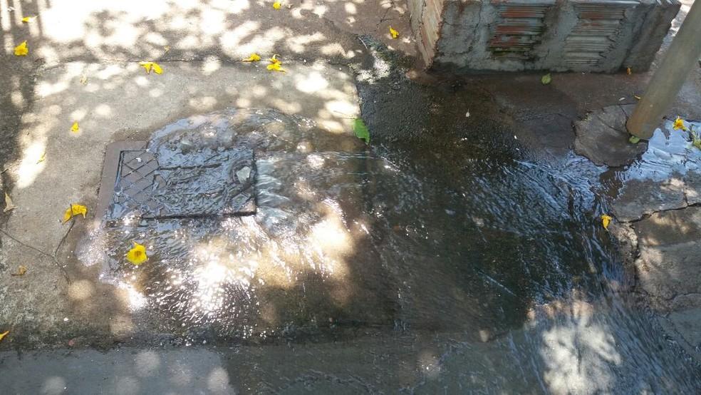 Dois pontos de vazamentos de esgoto existem no bairro  (Foto: Arquivo Pessoal)