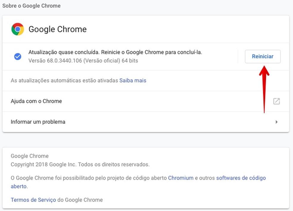 Reinicie o Chrome para aplicar a atualização (Foto: Reprodução/Helito Bijora)