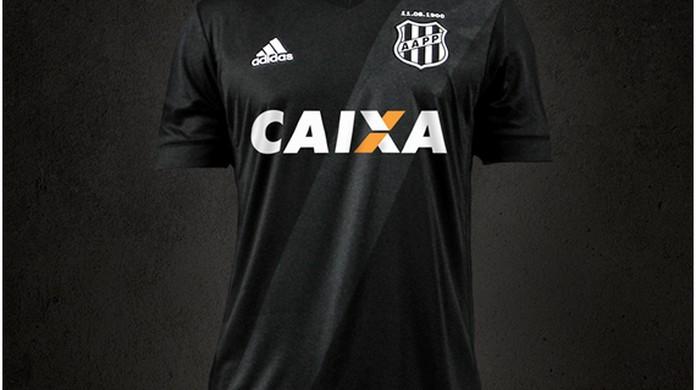Camisa preta com faixa cinza  Ponte vai estrear novo uniforme contra o Vasco   d6f4d336dfcc7