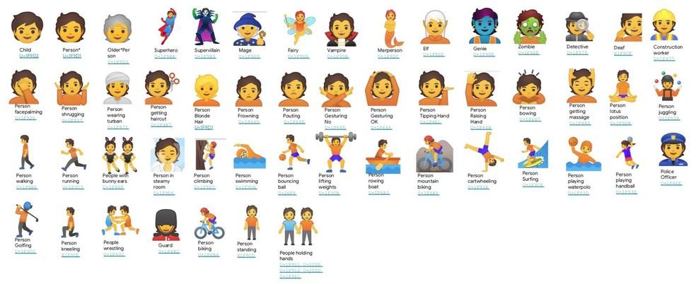Novos emojis inclusivos de gênero lançados pela Google — Foto: Divulgação/Google