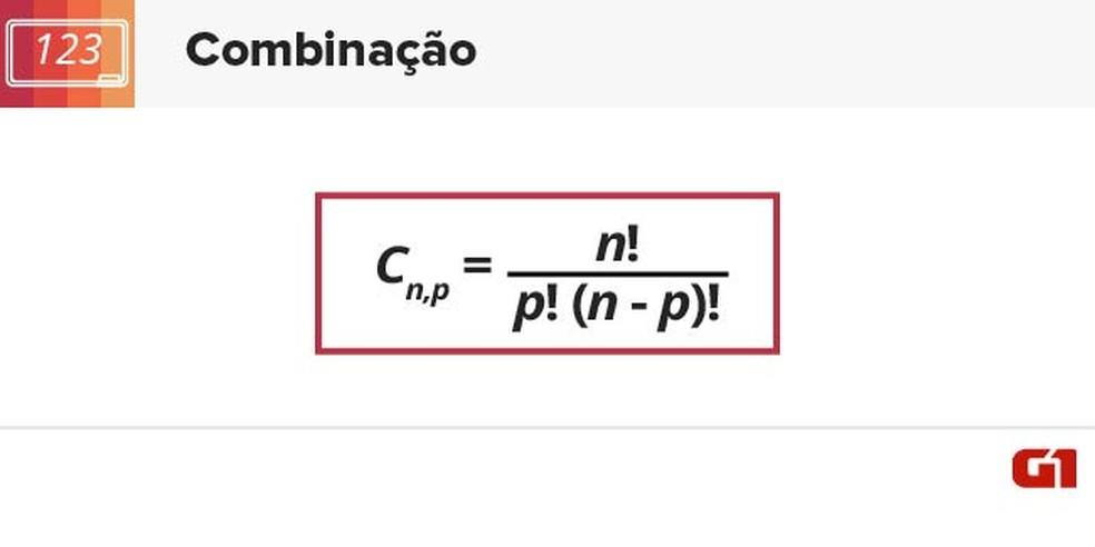 Fórmula de combinação (Foto: Arte/G1)