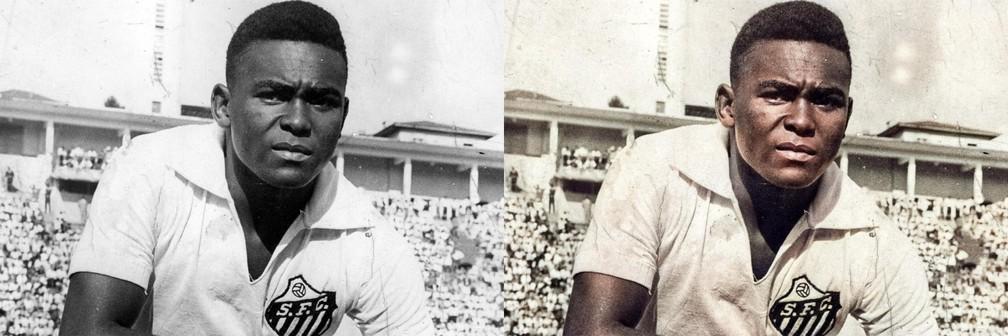 Coutinho, com a camisa do Santos, no Pacaembu — Foto: Reprodução
