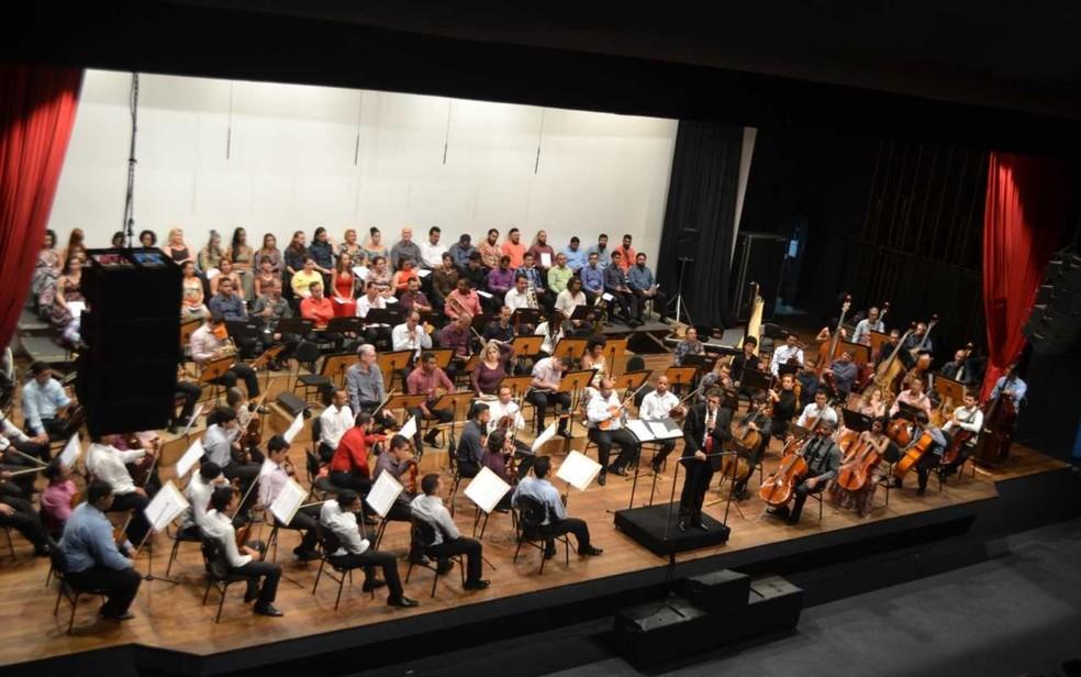Orquestra e Coro Sinfônicos se apresentam juntos em Goiânia — Foto: Orquestra Sinfônica de Goiânia/Divulgação