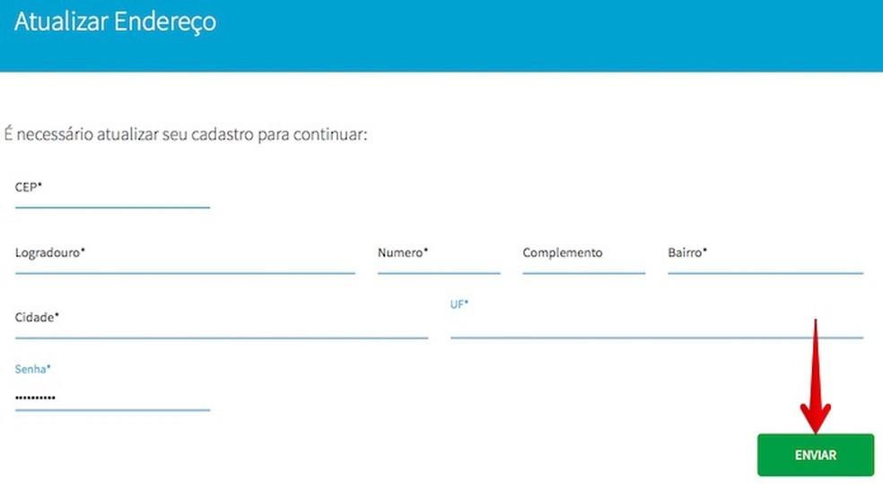 Atualize o seu endereço para realizar o cadastro no Consumidor Positivo da Boa Vista (Foto: Reprodução/Helito Bijora)