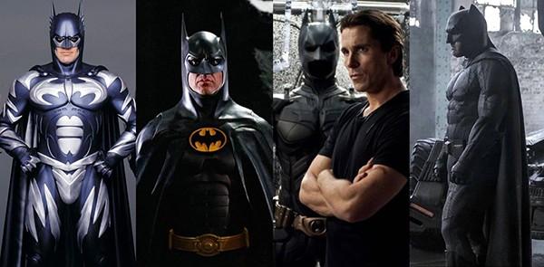 George Clooney em Batman & Robin (1997), Michael Keaton em Batman: O Retorno (1992), Christian Bale em Batman Begins (2005), Ben Affleck em Batman vs Superman: A Origem da Justiça (2016)  (Foto: Divulgação)