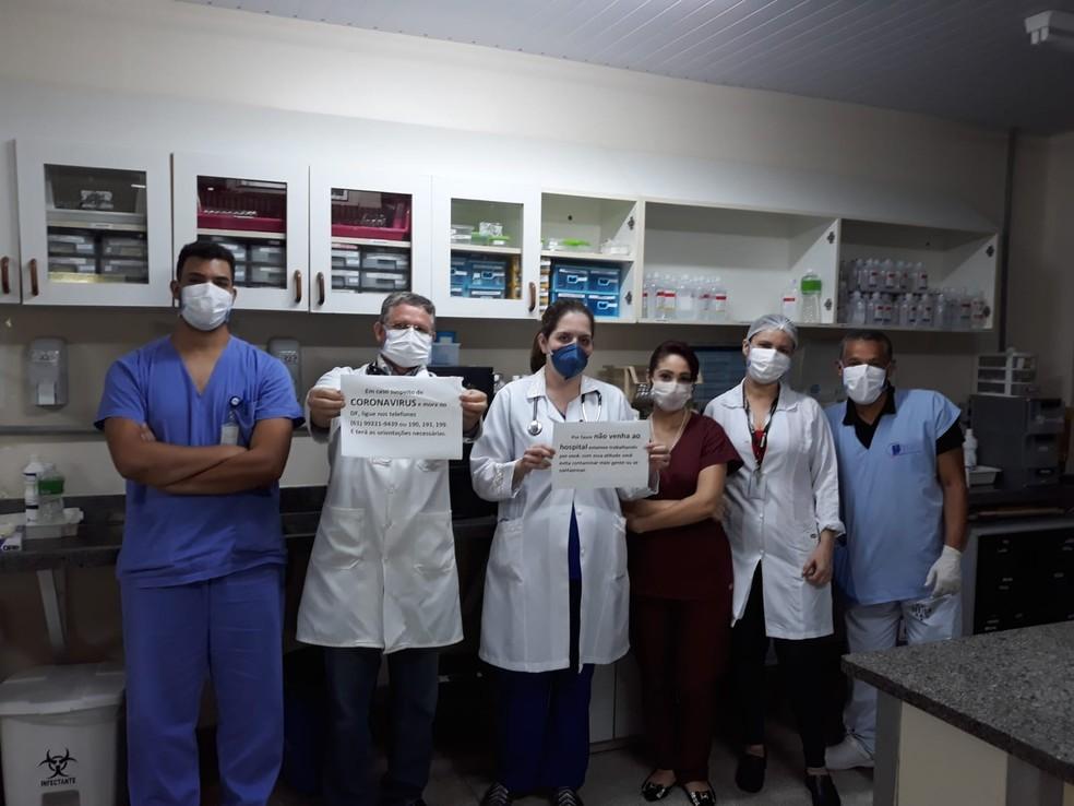 Profissionais da Saúde, no DF, defendem o serviço público e pedem que as pessoas não procurem os hospitais sem necessidade em tempos de coronavírus — Foto: Arquivo pessoal