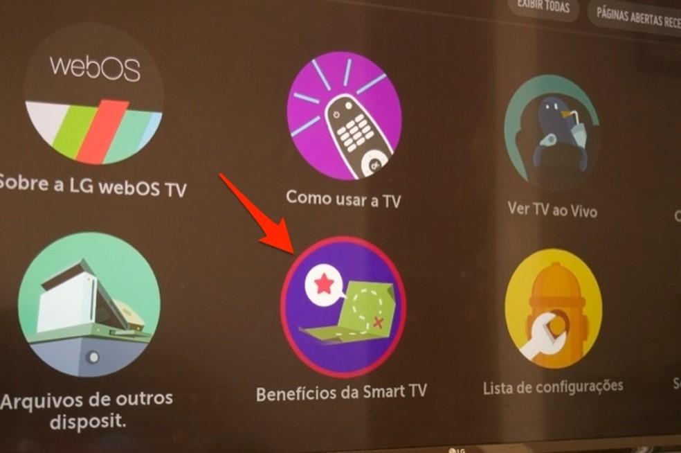 Ação para acessar dicas sobre benecíficos da Smart TV da LG — Foto: Reprodução/Marvin Costa