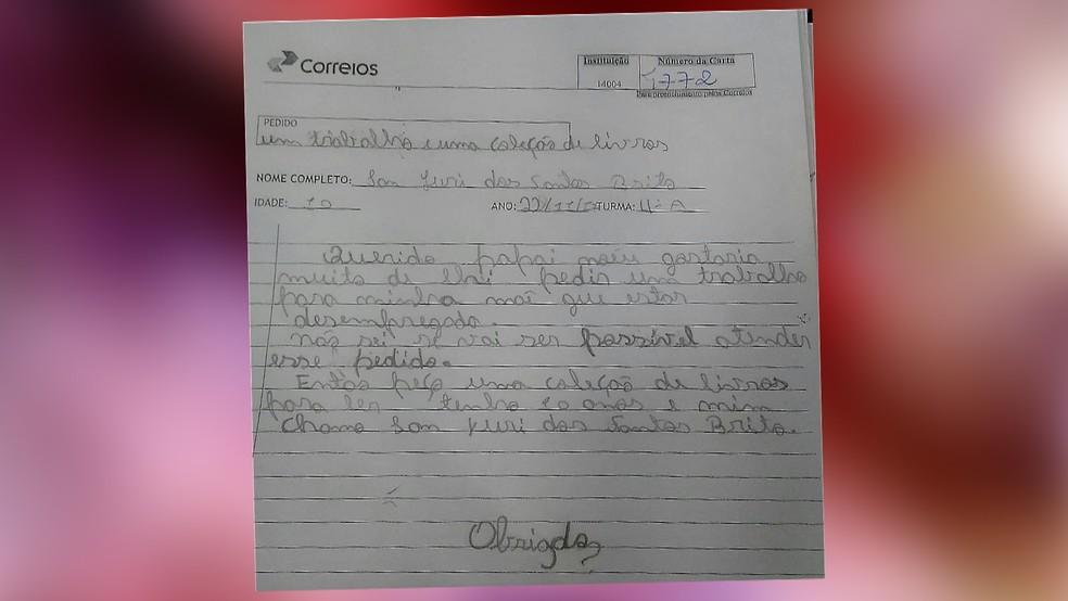 Em carta ao Papai Noel dos Correios, menino pede emprego para a mãe, na Paraíba (Foto: Reprodução/TV Cabo Branco)