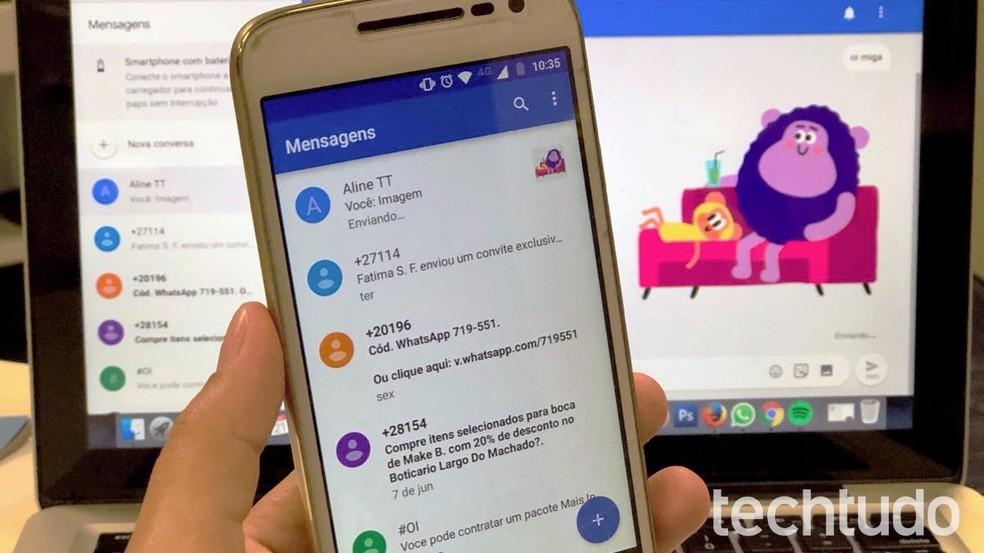 Oi utiliza app Mensagem do Google para envio de conteúdo RCS — Foto: Nicolly Vimercate / TechTudo