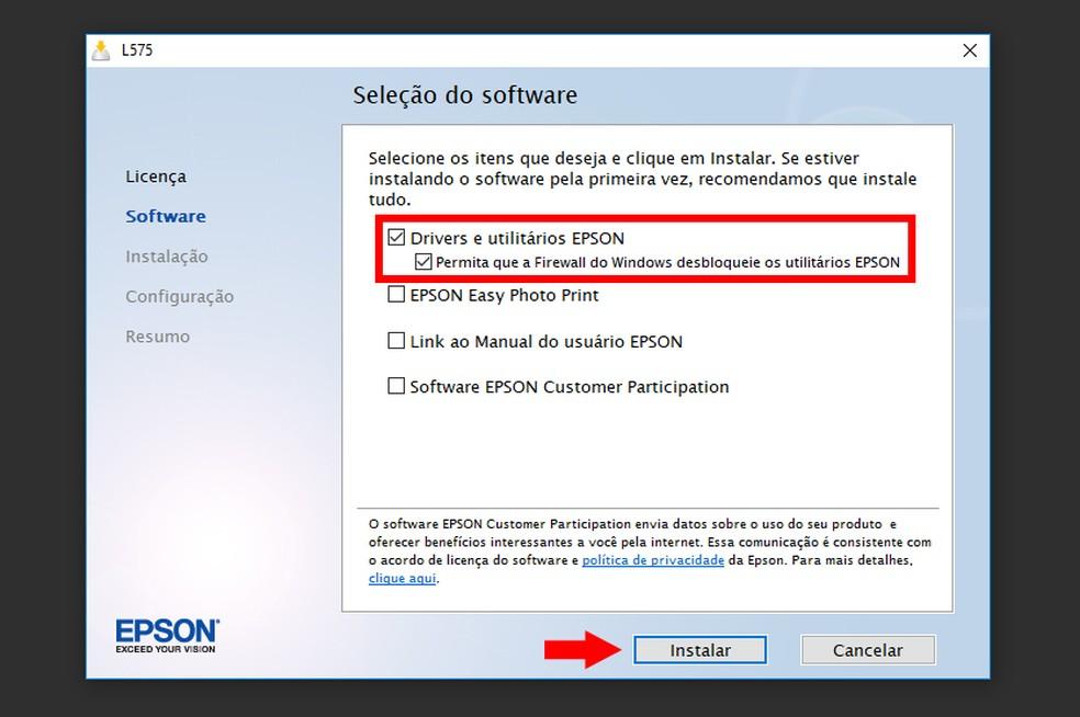 Marque o item para instalar software da Epson EcoTank L575 (Foto: Reprodução/Thiago Rocha)