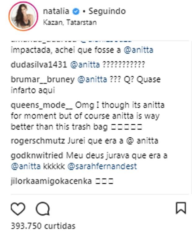 Post de Natalia Barulich rendeu comparações com Anitta (Foto: Reprodução/Instagram)