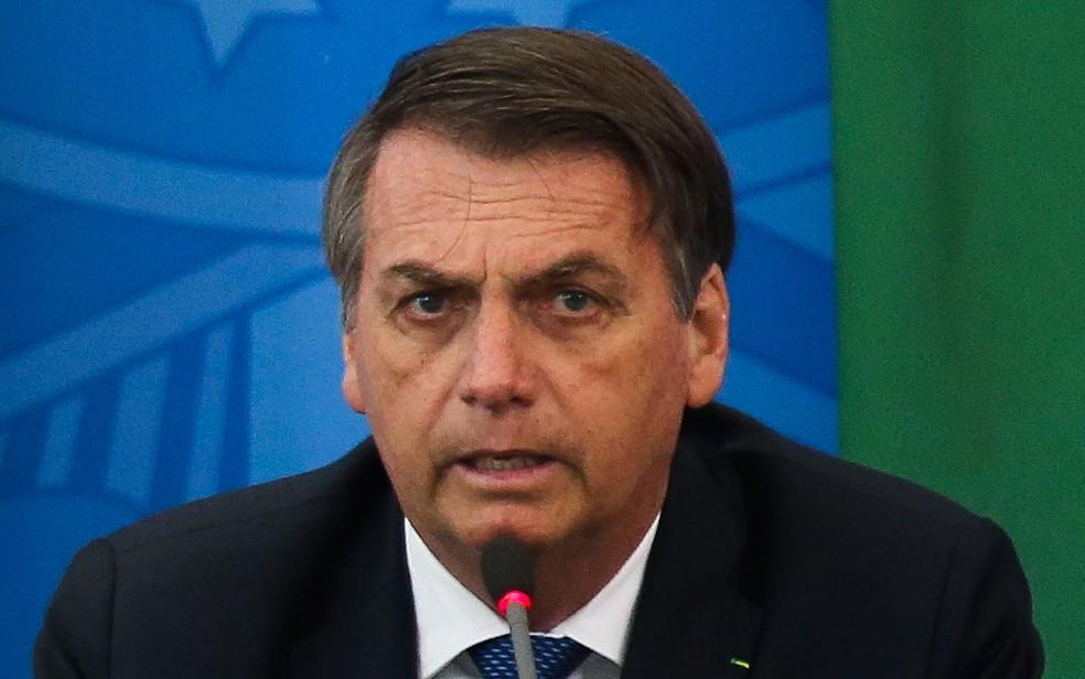 O presidente Jair Bolsonaro durante evento no Palácio do Planalto — Foto: Antonio Cruz/ Agência Brasil