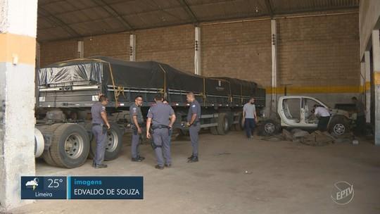 Polícia Militar encontra carretas e cargas roubadas em barracão de Sumaré