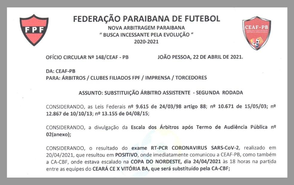 Documento da Federação Paraibana de Futebol informando que Oberto Santos testou positivo para Covid-19 — Foto: Reprodução / FPF-PB