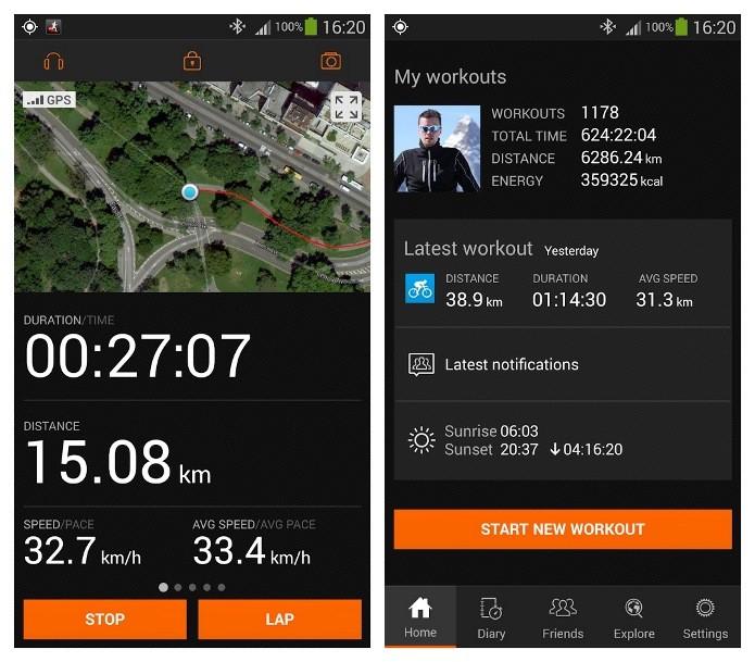 Com o Sports Tracker é possível também visualizar o mapa do percurso de outros usuários que estão usando o app por perto (Foto: Divulgação)