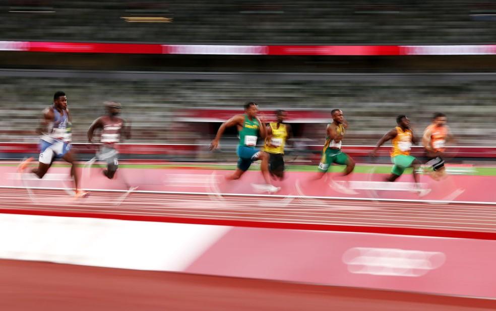 Paulo André nas eliminatórias dos 100m — Foto: David Ramos/Getty Images